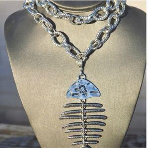 Big Long Statement Fish Bones Pendant Necklace